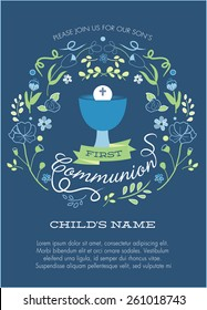 Navy Blue and Green Boy's First Holy Communion Invitation with Chalice and Flowers - Vector