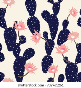 navy blue Hand drawn cactus tropical garden seamless pattern. in light pink background.