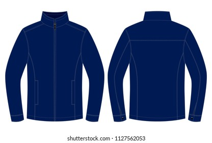 Navy Blue Jacket for Template : Front and Back