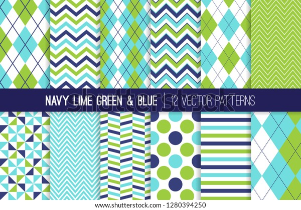 Navy Blue Lime Green Aqua Blue Stock Vector Royalty Free 1280394250