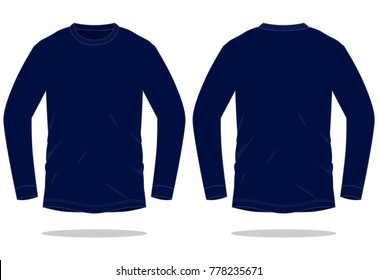 Navy blue long sleeve t shirt  for template (Front and Back views)