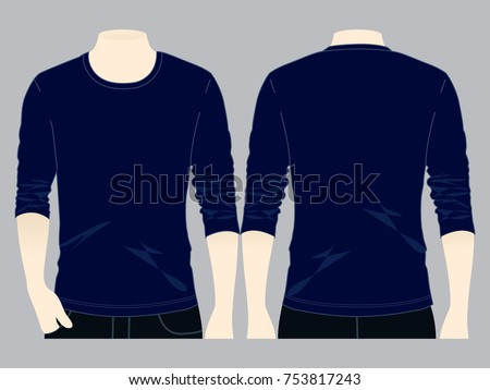 Navy Blue Long Sleeve T Shirt Stock Vector (Royalty Free) 753817243 ... c28828d0054
