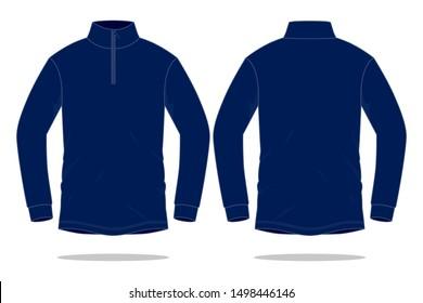 Navy Blue Long Sleeve T-Shirt for Template (Stand Up Collar): Zipper Placket