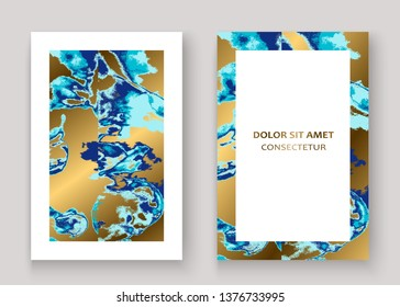 Navy blue marble luxurious texture paint artistic, wedding invitation design. Decorative splash fluid on golden background, vector Illustration. Trendy template vector Cover Card Flyer Poster Banner