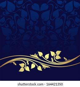 Navy blue ornamental Background decorated a golden floral Border.