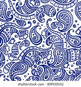 navy blue paisley seamless pattern