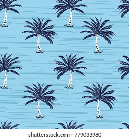Navy blue palm trees on the sky blue background. Vector seamless pattern. Tropical illustration. Jungle foliage.
