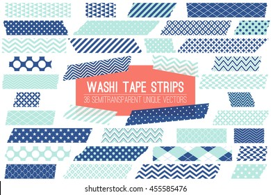 Navy Blue and Pastel Turquoise Washi Tape Strips with Torn Edges and Different Patterns. 36 Unique Semitransparent Vectors. Photo Sticker, Web / Print Layout Element, Clip Art, Scrapbook Embellishment
