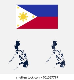 Navy Blue Philippines Map and Flag isolated on white background. vector illustration Eps10.