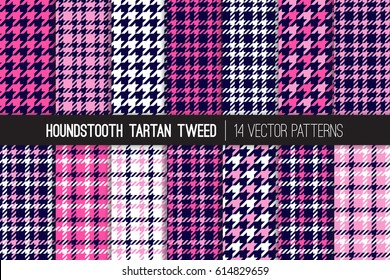 Navy Blue and Pink Houndstooth Tartan Tweed Vector Patterns. Girly Fashion Textile Backgrounds. Set of Dogs-tooth Check Fabric Textures. Pattern Tile Swatches Included.