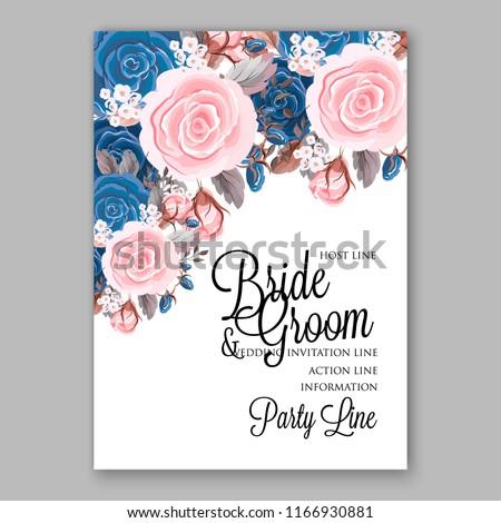 navy blue pink peony wedding invitation stock vector royalty free
