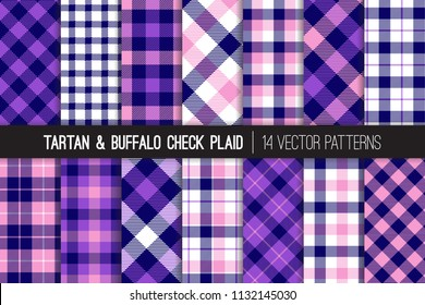 Navy Blue, Pink and Violet Tartan and Buffalo Check Plaid Vector Patterns. Purple Flannel Shirt Textures. Hipster Fashion. Checkered Background. Repeating Pattern Tile Swatches Included.