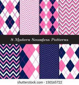Navy Blue, Pink and White Chevron and Argyle Patterns. Pattern Swatches included and made with Global Colors.