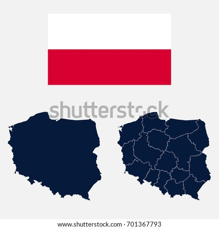 Navy Blue Poland Map Flag Isolated Stock Vector (Royalty Free ...