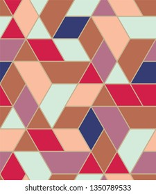 Navy blue, red, brown, pink, and light green multi-colored blocks, seamless repeat vector pattern.  Diamond, triangle, trapezoid.