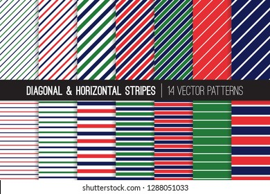 Navy Blue, Red and Green Diagonal and Horizontal Stripes Vector Patterns. Preppy Style Striped Backgrounds. Pin and Candy Stripes. Variable Thickness Lines. Pattern Tile Swatches Included.