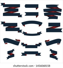 Navy Blue and Red Ribbon Set InIsolated White Background, Vector Illustration