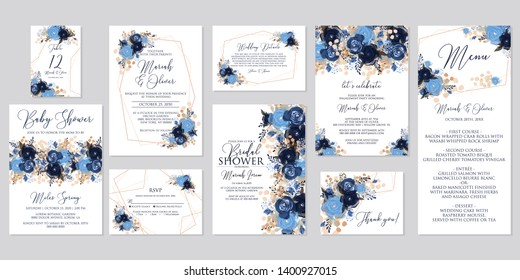 Navy blue rose peony anemone Wedding invitation set white anemone bridal baby shower table card engagement party detail card thank you card Seating chart  herbal