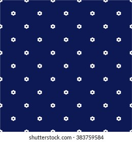 Navy Blue Seamless Pattern with Little White Flowers