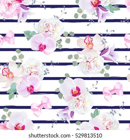 Navy blue striped seamless vector print in purple, pink and white tones with bows. Peony, violet campanula, orchid, bell flower, eucalyptus. Simple backdrop with satin pink bows and blue berries.