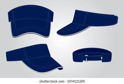 Navy Blue Sun Visor Cap for Vector