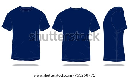 navy blue t shirt template front back side stock vector