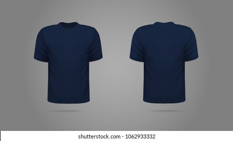 Navy blue T-shirt template vector, front and back view.