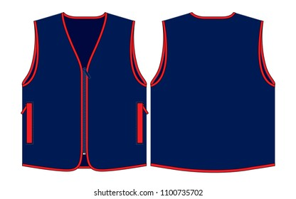Navy Blue Vest Design With Red Edge and Pocket Vector.Front and Back Views.