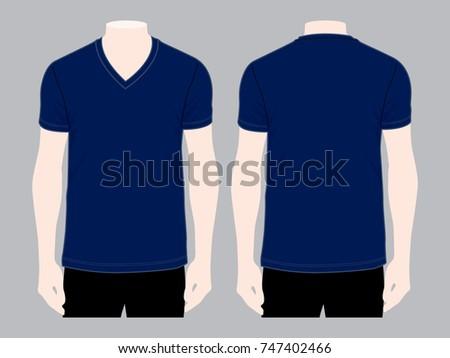 Navy Blue V Neck T Shirt For Template