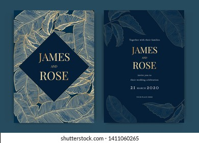 Navy blue Wedding Invitation, floral invite thank you, rsvp modern card Design in Golden leaf greenery  branches decorative Vector elegant rustic template