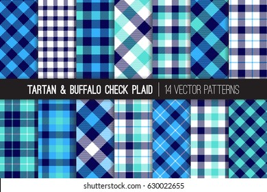 Navy, Blue, White and Aqua Blue Tartan and Buffalo Check Plaid Vector Patterns. Hipster Lumberjack Flannel Shirt Fabric Textures. Pattern Tile Swatches Included.