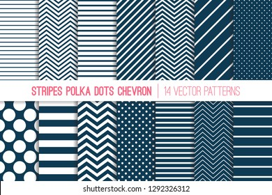 Navy Blue and White Chevron, Polka Dots and Diagonal and Horizontal Stripes Vector Patterns. Modern Minimal Neutral Backgrounds. Various Size Spots and Lines. Tile Swatches Included.