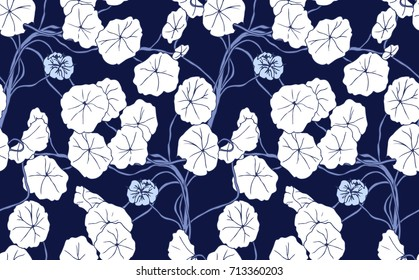 Navy blue and white floral background design featuring a climbing vine plant with leaves and flowers. Seamless vector pattern repeat.