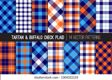 Navy, Blue, White and Orange Tartan and Buffalo Check Plaid Vector Patterns. Hipster Lumberjack Flannel Shirt Fabric Textures. Summer Men's Fashion.Pattern Tile Swatches Included