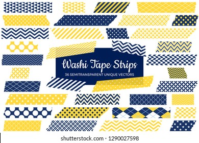 Navy Blue and Yellow Washi Tape Strips with Torn Edges & Different Patterns. 36 Unique Semitransparent Vectors. Photo Sticker, Print / Web Layout Element, Clip Art, Embellishment