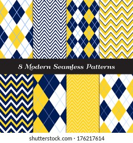 Navy Blue, Yellow and White with Sky Blue Accent Lines Argyle and Chevron Seamless Patterns. Navy Yellow Nautical or Golf Backgrounds. Pattern Swatches included and made with Global Colors.