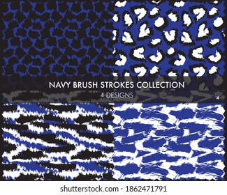 Navy Brush strokes pattern collection includes 4 designs for fashion prints, graphics, backgrounds