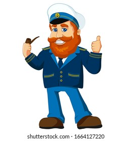 Navy captain character cartoon mascot, old redhead sailor, skipper smiling, smoking pipe in uniform, with thumb up. Vector illustration isolated for logo, mascot, stickers and more.