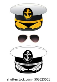 Navy captain hat. Vector illustration, isolated on white.