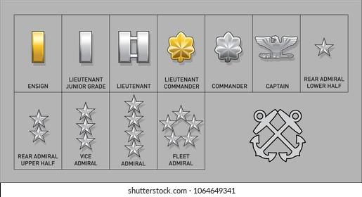 Navy & Coast Guard Officer Rank Insignia - Isolated Vector Illustration