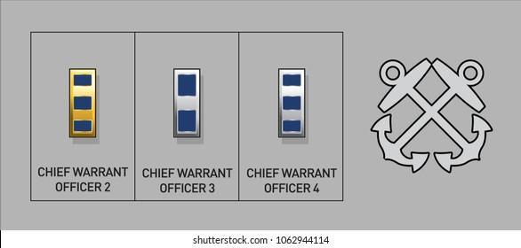 Navy & Coast Guard Warrant Officer Rank Insignia - Isolated Vector Illustration