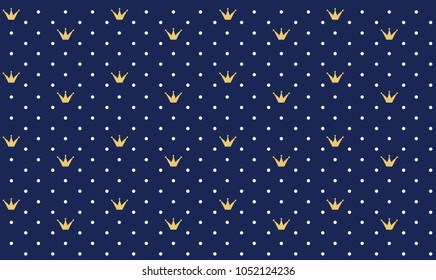 Navy dark blue seamless pattern in retro style with a gold crown. Can be used for premium royal party. Luxury backdrop for little prince. Polka white dots. Kids boy wallpaper
