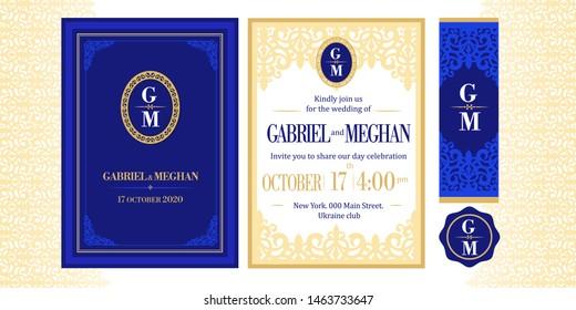 Navy dark deep blue template invitation with golden corner. Wedding greeting with vintage ornament. Printable elegant invite card. Damask beige vector lace. Monogram logo oval royal emblem. Vip event