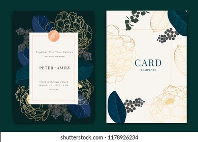 Navy and dark green Wedding Invitation, floral invite thank you, rsvp modern card Design in metallic peony flower with  leaf greenery  branches decorative Vector elegant rustic template