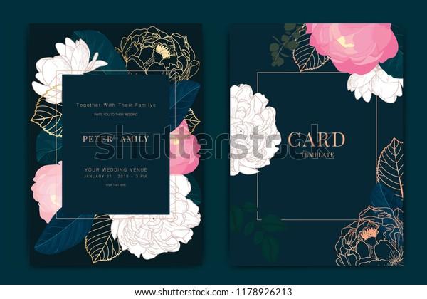 Navy Dark Green Wedding Invitation Floral Stock Vector Royalty