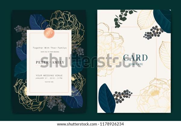 Navy Dark Green Wedding Invitation Floral Beauty Fashion Stock Image