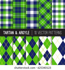 Navy and Green Argyle, Tartan and Gingham Plaid Vector Patterns. Traditional Golf Fashion. Sports Theme Backgrounds for Charity Events or Birthday Party Decor.  Vector Pattern Tile Swatches Included.