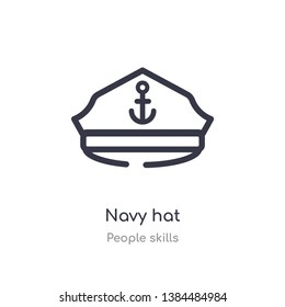 navy hat outline icon. isolated line vector illustration from people skills collection. editable thin stroke navy hat icon on white background