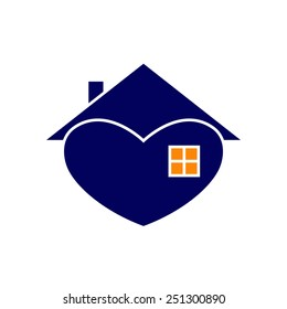 Navy house with white contour in the shape of heart with roof and chimney on it, big window and orange light in it isolated on white background. New house concept. House logo template