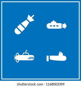 navy icon. 4 navy vector set. submarine and torpedo icons for web and design about navy theme